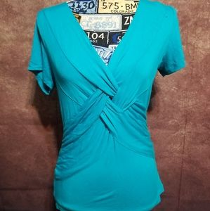Cable & Gauge blue short sleeve knotted blouse